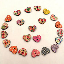 Newest 100x Mixed Color 2 Holes Cute Heart Pattern Wood Buttons Sewing 18mm