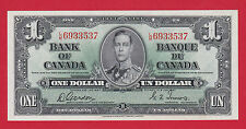 ✪ LM 6933537 Bank of Canada 1937 One 1 Dollar Note Gordon Towers Ch Unc $69.95