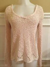 ANTHROPOLOGIE YELLOW BIRD IVORY SWEATER sz XS BEACHY CROCHET HEM HI-LOW