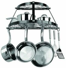New Kitchen 2 Shelf Wall Mount 8 Black Pot Rack Hanger Pan Metal Pots Display