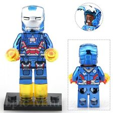 Custom Chrome Iron Man Patriot Minifigure Marvel fits with Lego MK31 UK Seller