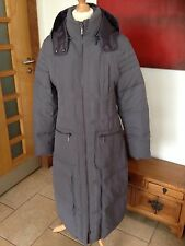John Lewis Size 12 Grey Full Length Feather/Duck Down Coat With Detatchable Hood