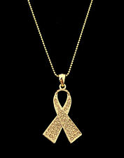 CRYSTAL GOLD RIBBON BOW CHILDHOOD CANCER AWARENESS PENDANT CHARM NECKLACE