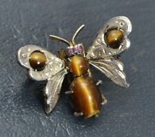 Antique Victorian SOLID 830 SILVER Tiger's Eye & Garnet BUTTERFLY Bug Fly Brooch