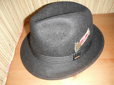 NEW 100%  wool MENS SCALA charcoal grey pinch front FEDORA HAT XL