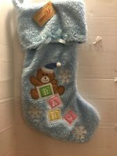 Boys Plush Blue Baby Christmas Stocking Home Collection By Seasons Design