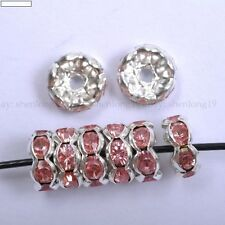 100pcs Pink Crystal Wavy Rhinestone Silver Plaed Rondelle Spacer Beads 8MM