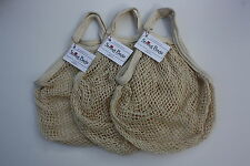 Net String Shopping Bag in Unbleached Recycled Cotton.Short handle. Pack of 3