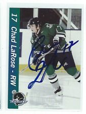 Chad LaRose Signed Plymouth Whalers Team Issued Card Carolina Hurricanes