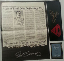 Death of Superman Promo Lot of 4 signed Dan Jurgens POSTER NEWSPAPER CARD RIBBON