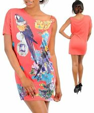 M90 -S/Small- CORAL,Parrot/Floral Print,Stretch Summer Mini Dress/Long Top,Tunic