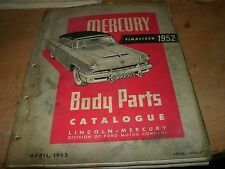 1952 MERCURY MASTER PARTS MANUAL CATALOG W PART NUMBERS ID MANUAL BODY SALE PRIC