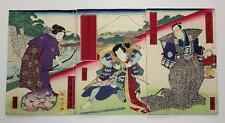 Japanese Ukiyo-e Woodblock Print Book 4-254 Three-volume Baido Kunimasa 1880