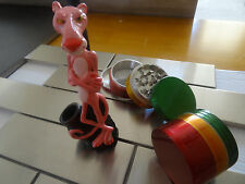 Pink Panther Ceramic Tobacco Pipe + 4pcs. Metal Grinder   NOT glass  3342  + RG
