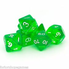 Green Gem poly dice set 7 polynomial for d20 RPG roleplay