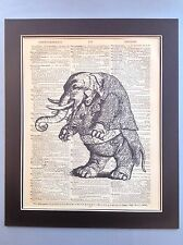 Antique Vintage Dictionary Book Page Art Smart Elephant Playing Violin/Viola