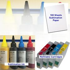 4X SUBLIMATION INK REFILLABLE CARTRIDGES PAPER EPSON WORKFORCE WF3010DW NON OEM