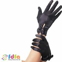 BLACK SHORT BURLESQUE MAGICIAN GLOVES WITH BOW- womens ladies fancy dress