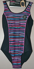 LADIES M&S SWIMSUIT TUMMY CONTROL BUST SUPPORT - BLACK MIX - SIZE 8 - BNWT