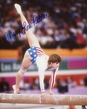MARY LOU RETTON HAND SIGNED 8x10 COLOR PHOTO+COA     80 OLYMPICS ON BALANCE BEAM