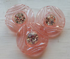 3 BEAUTIFUL VINTAGE CZECH RHINESTONE GLASS BUTTONS~PINK DEPRESSION GLASS~NOS