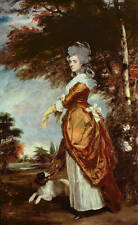 Oil painting portraits honourable middle-aged noble lady with her pet Hand paint