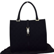 Authentic GUCCI GG Pattern Hand Bag Canvas Leather Black Made In Italy 08W120