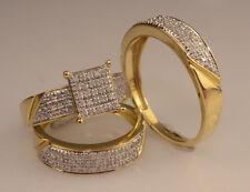 Men And Ladies Diamond & 14k Yellow Gold Trio Set Wedding /Engagement Rings