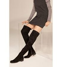 New $798 Stuart Weitzman Hilo Black Suede Thigh High Boots 6