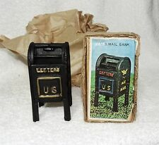 "Vintage Cast Iron Coin Bank mail box US letters Air mail-NIB-5"" tall & 2 1/2"" wd"