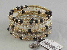 Macy's I.N.C. International Concepts Gold Black Smoke Crystal Coil Bracelet