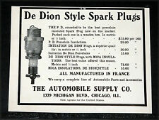 1904 OLD MAGAZINE PRINT AD, AUTOMOBILE SUPPLY CO, DE DION STYLE SPARK PLUGS!
