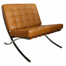 Barcelona Chair In Tan Semi-Aniline Leather Mies Van Der Rohe