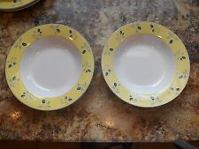 Royal Doulton Blueberry Yellow Trim RIM SOUP BOWL set of 2 USED