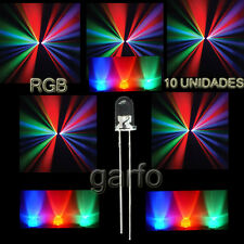 10X Diodo LED RGB 4,8x5mm. Cambio  automatico de color 2 Pin alta luminosidad