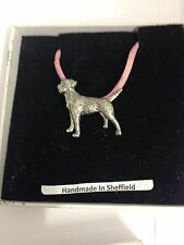 Border Terrier PP-D02 Dog Pewter Pendant on a PINK CORD Necklace