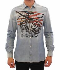 NEW $400 GALLIANO Blue Washed Denim American Flag MC Jeans Shirt IT50 / US40 / L