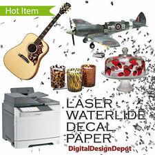 "5 sheets Laser waterslide decal paper CLEAR  8.5"" x 11"" :)"