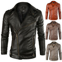 Motorcycle Jacket Mens Slim Fit PU Leather Casual PUNK Outerwear Biker Overcoat
