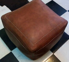 SQUARE HANDEMADE MOROCCAN GENUINE LEATHER POUF,BROWN,FOOTSTOOL.20/20 /16Inch