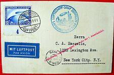 ZEPPELIN,1 NAF1929, MiNr. 423 UNTERAND, EF auf POSTKARTE n. N.Y