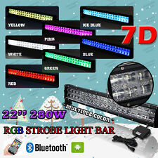 "2017 7D 22"" 280W CREE RGB LED Light Bar Offroad Strobe Bluetooth Music Colorful"