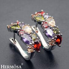 """Luxury Gifts! Hermosa® 925 Sterling Silver Amethyst Peridot Garnet Earrings 3/4"""""""