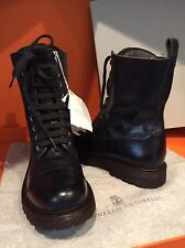 Brunello Cucinelli Beaded-Tongue Navy Aniline Leather Combat Boots Size 38.5