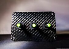 3 HOLE 3D WRAP CARBON FIBER   w/ LED toggle switches - GREEN