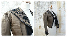 Antique 1900 Victorian French silk military green & black jet beads jacket size