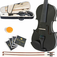 MENDINI SIZE 1/32 SOLIDWOOD VIOLIN METALLIC BLACK +TUNER+CASE+EXTRA BOW & STRING