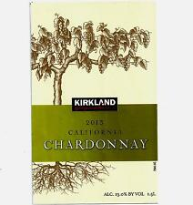 Kirkland 2013 California Chardonnay Wine Bottle Label