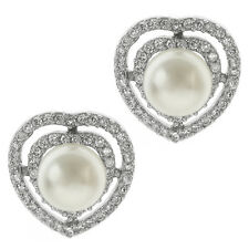 Beautiful 10mm White Shell Pearl and Cubic Zirconia CZ Heart Shape Stud Earrings