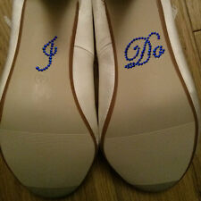I DO Diamante Crystal Rhinestone Wedding Shoe sticker decal - Royal blue
